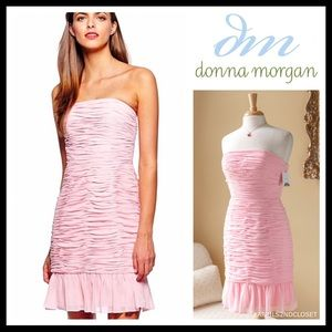 DONNA MORGAN STRAPLESS BLUSH CHIFFON FORMAL DRESS